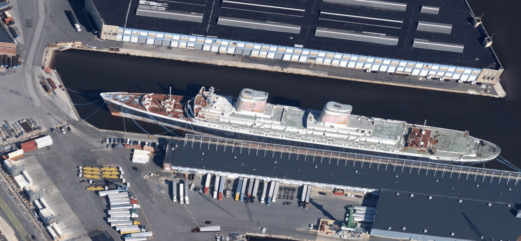 The SS United States moored in Philadelphia